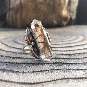 Vintage Sterling Crystal Ring